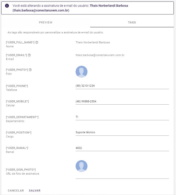 Tags de usuários Conecta Suite